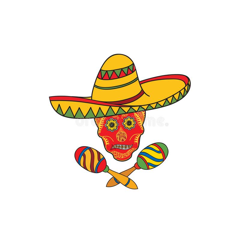 Mexican icon. Welcome to Mexico sign. Mexican tourist signs skull, sombrero hat. Mexican icon. Welcome to Mexico sign. Travel sign with skull, musical instrument royalty free illustration