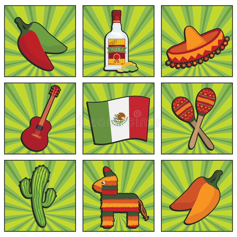 Download Mexican icons stock vector. Image of celebration, pepper - 26315233