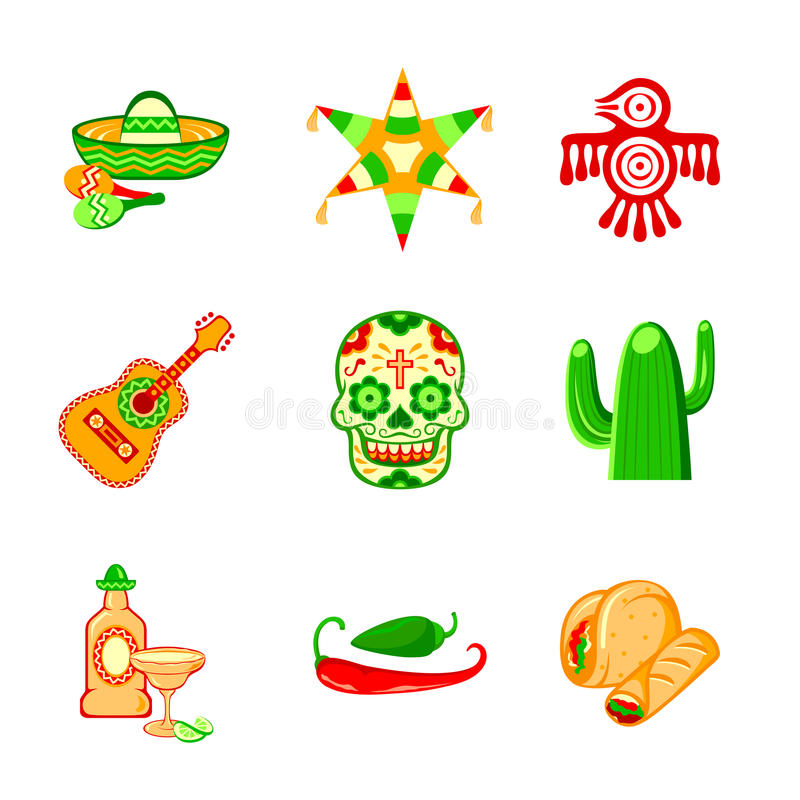 Mexican icons. Colorful culture symbols, food and objects of Mexico stock illustration