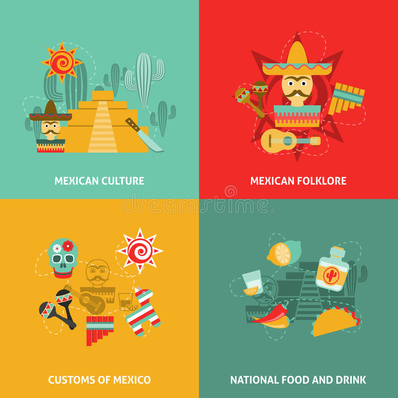 Mexican Icons Set. With culture customs folklore and food symbols flat vector illustration stock illustration