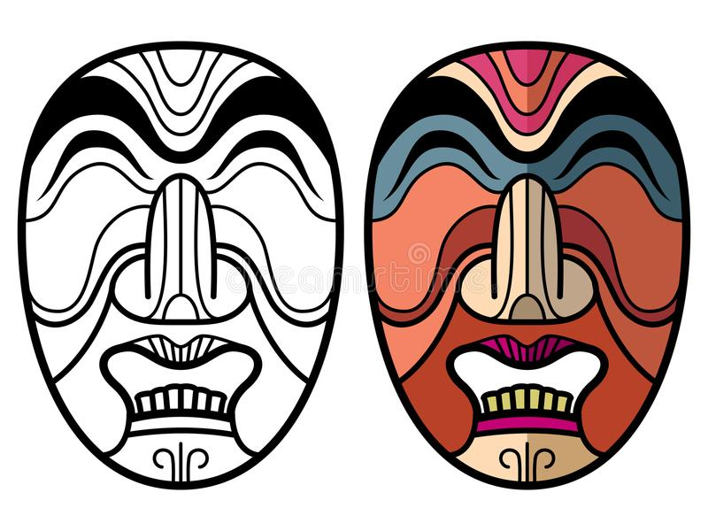 Mexican indian aztec traditional masks royalty free illustration