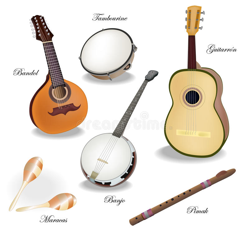 Mexican instruments stock illustration illustration of create 48588237 - Instrumentos musicales leganes ...
