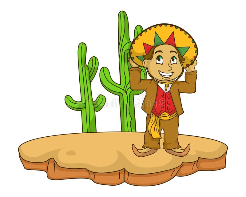 Mexican kids illustration with gradients stock photography