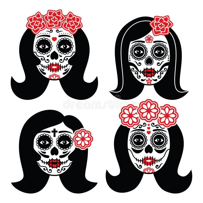 Mexican La Catrina - Day of the Dead girl skull royalty free illustration