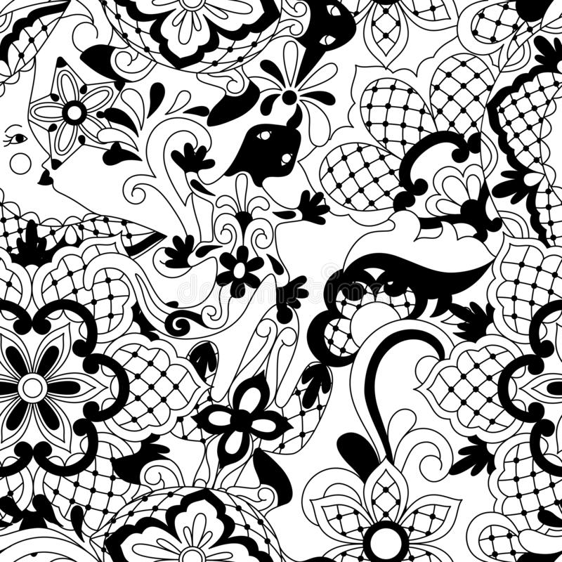 Mexican lace seamless pattern. royalty free illustration