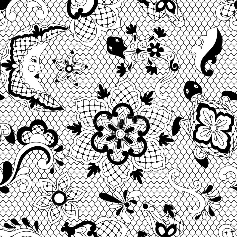 Mexican lace seamless pattern. stock illustration