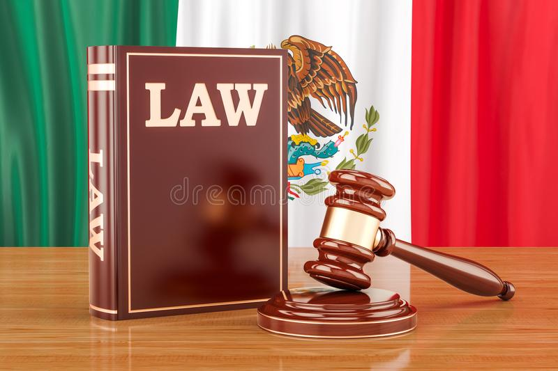 Mexican law and justice concept, 3D rendering stock illustration