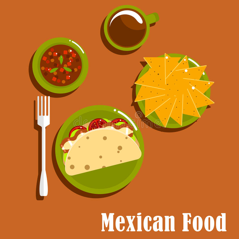 Mexican lunch with tacos and nachos. Mexican cuisine lunch flat icons of traditional tacos with fried pork, tomato and lettuce on corn tortillas, nachos, spicy stock illustration