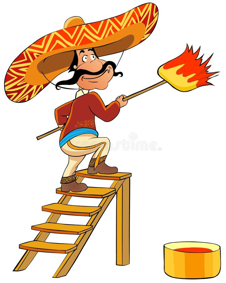 Mexican man with a brush. Illustration of Mexican man with a brush and a bucket with a paint stock illustration