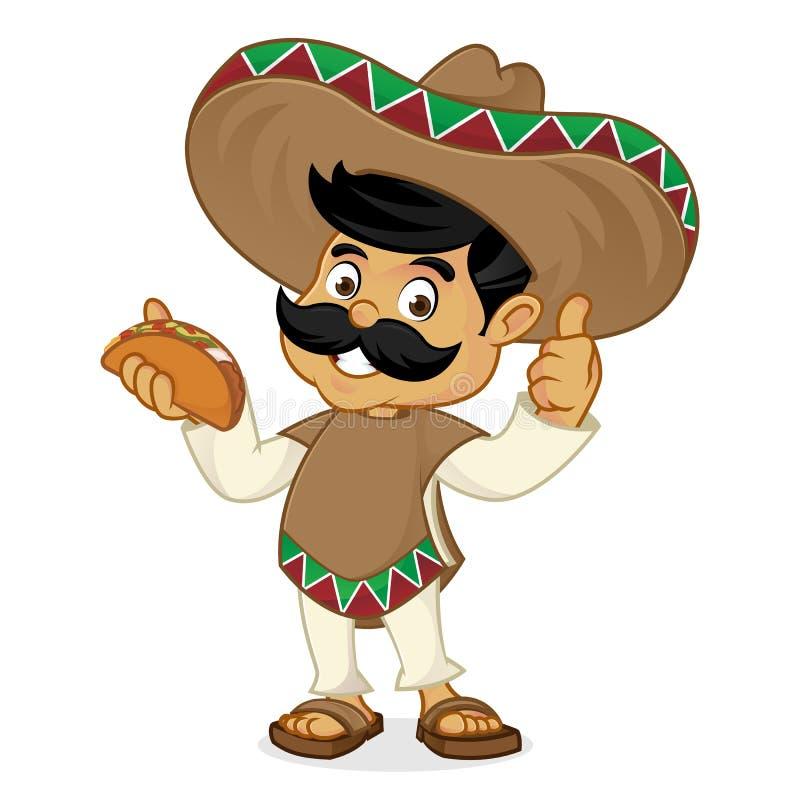 Mexican man cartoon eating taco stock illustration