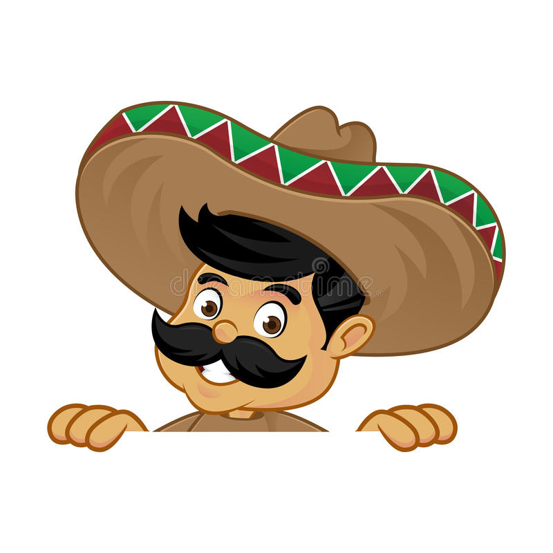 Mexican man cartoon holding blank sign. Isolated in white background stock illustration