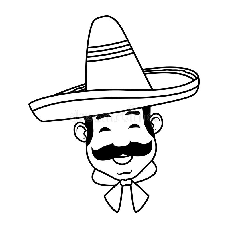 Mexican man face avatar icon cartoon in black and white. Mexican man face with moustache and mexican hat in black and white vector illustration graphic design stock illustration