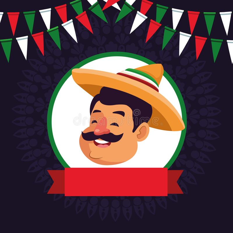 Mexican man face avatar icon cartoon. Mexican man face with moustache and mexican hat profile picture avatar cartoon character portrait in round icon with ribbon vector illustration