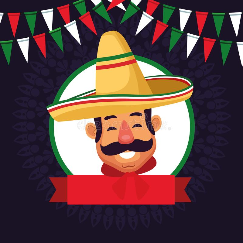 Mexican man face avatar icon cartoon. Mexican man face with moustache and mexican hat profile picture avatar cartoon character portrait in round icon with ribbon stock illustration
