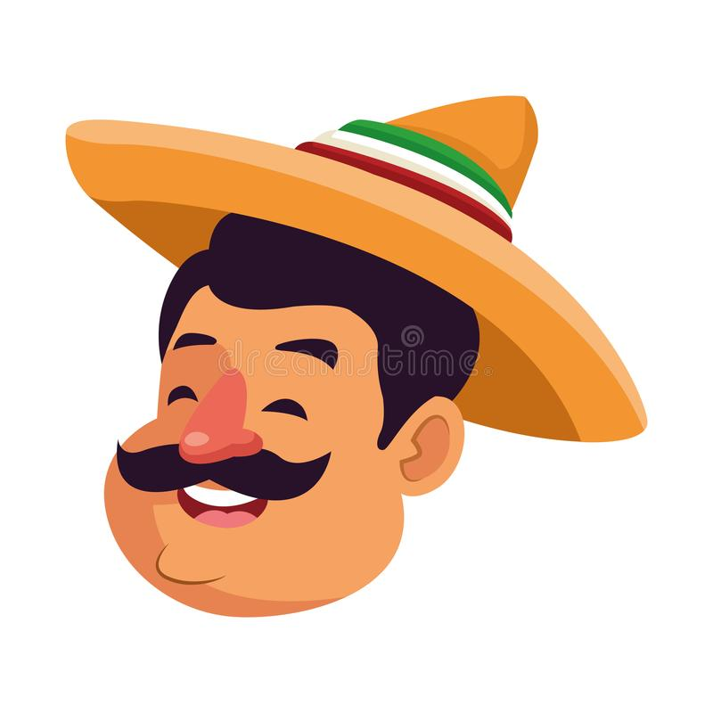 Mexican man face avatar icon cartoon. Mexican man face with moustache and mexican hat vector illustration graphic design vector illustration