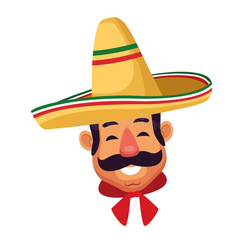 Mexican man face avatar icon cartoon. Mexican man face with moustache and mexican hat vector illustration graphic design royalty free illustration