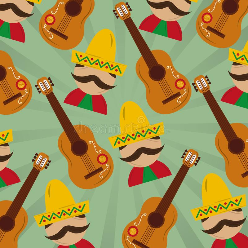 Mexican man with hat mustache and guitar pattern image. Vector illustration royalty free illustration