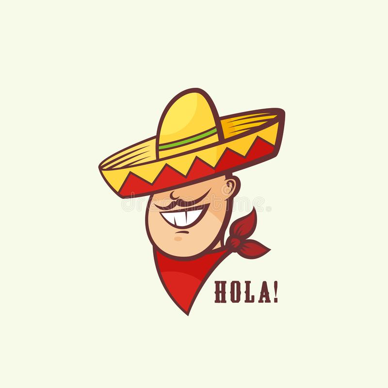 Mexican Man Head with Traditional Sombrero and Red Neckerchief. Abstract Vector Sign or Logo Template. Smiling Mans Face. With Mustache and Hat Symbol. Isolated vector illustration