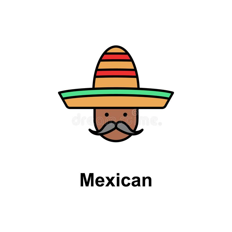 Mexican, man icon. Element of Cinco de Mayo color icon. Premium quality graphic design icon. Signs and symbols collection icon for royalty free illustration