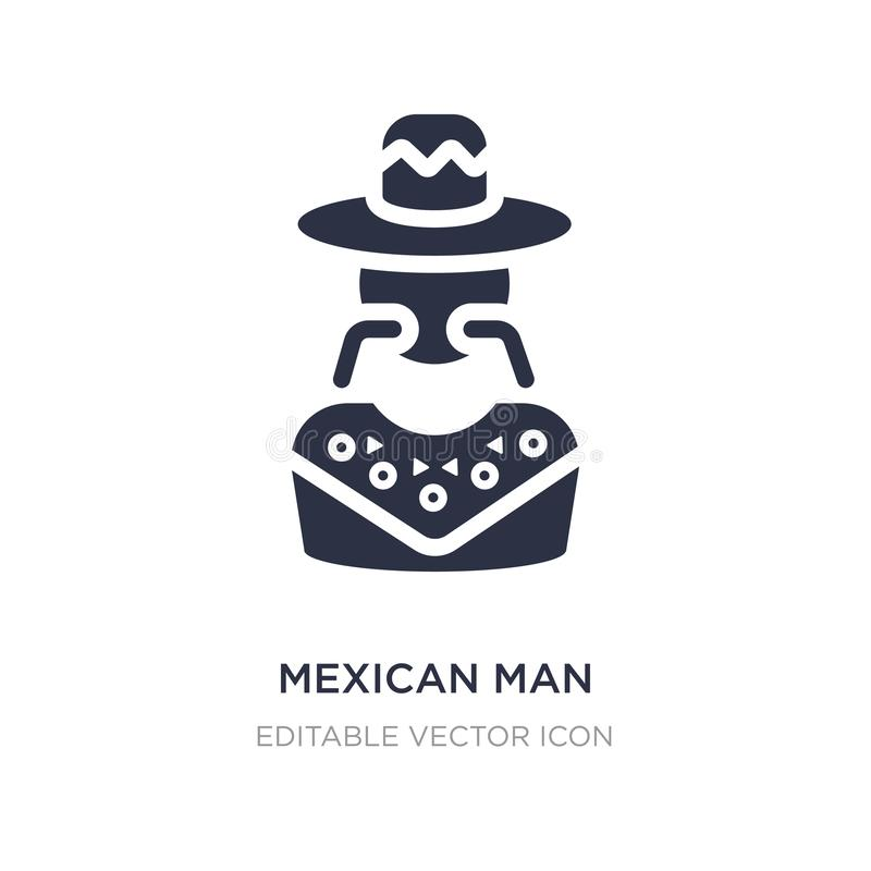 mexican man icon on white background. Simple element illustration from Social media marketing concept vector illustration