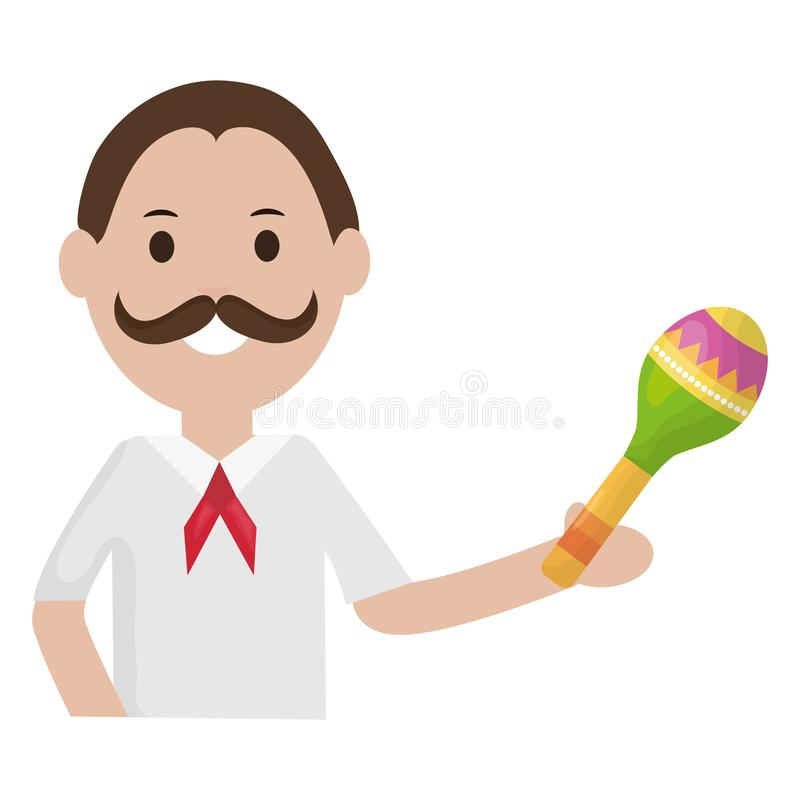 Mexican man with maraca character stock illustration