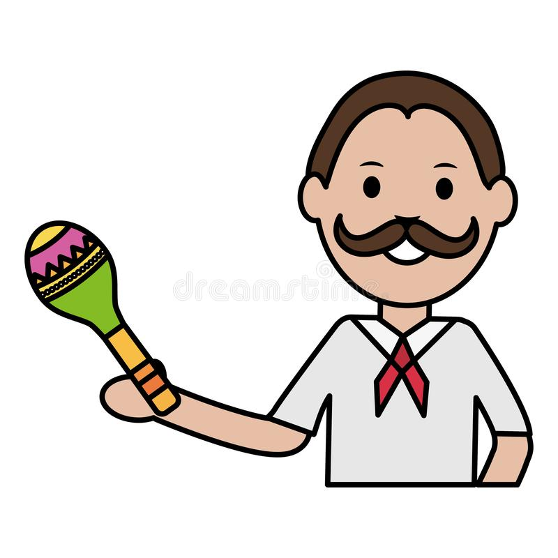 Mexican man with maraca character vector illustration