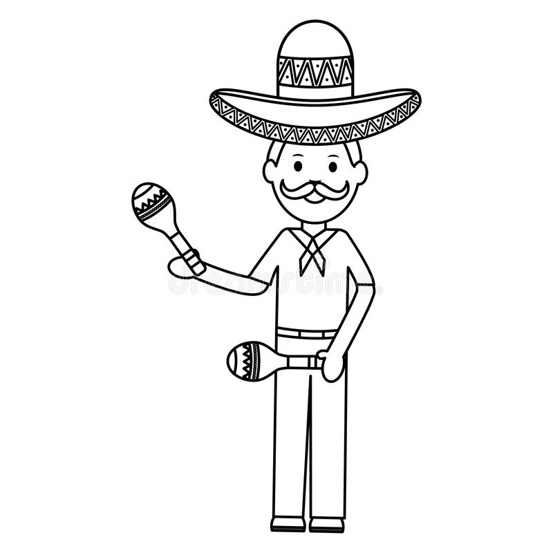 Mexican man with mariachi hat and maracas. Vector illustration design stock illustration