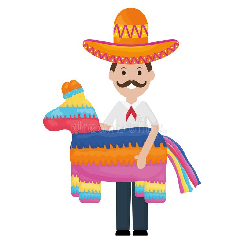Mexican man with mariachi hat and pinata. Vector illustration design stock illustration