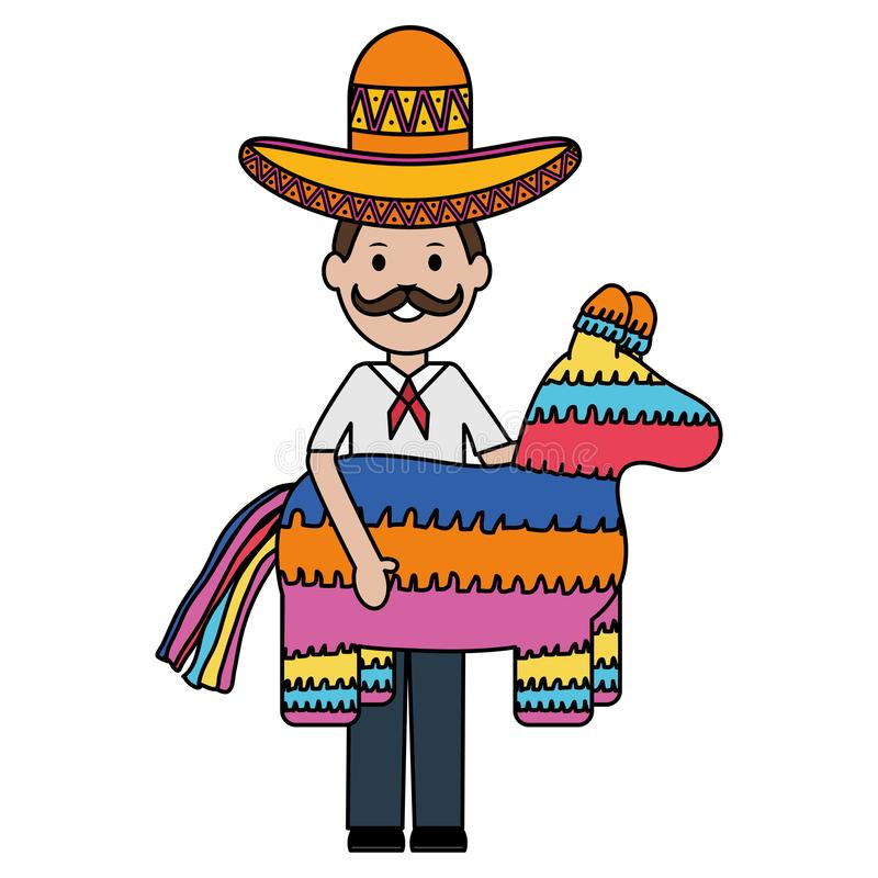 Mexican man with mariachi hat and pinata. Vector illustration design vector illustration