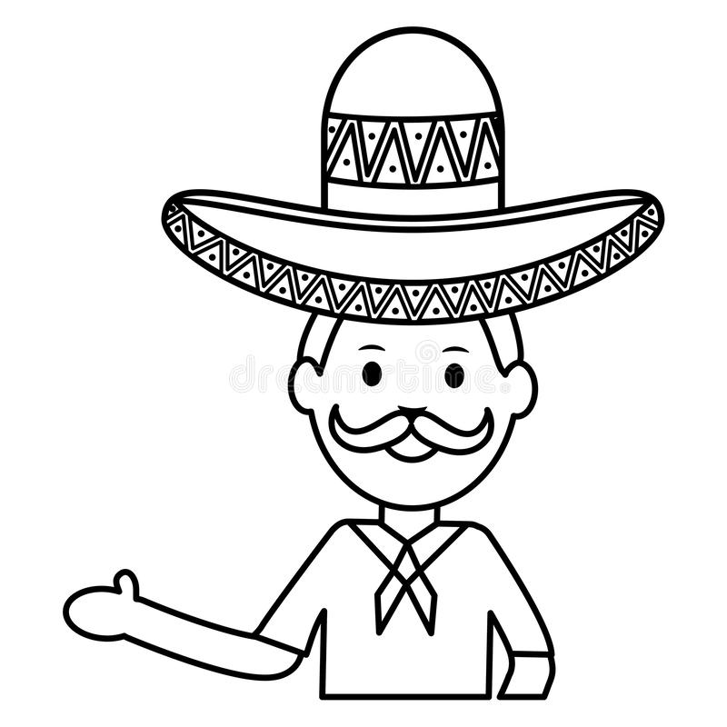 Mexican man with mariachi hat. Vector illustration design royalty free illustration