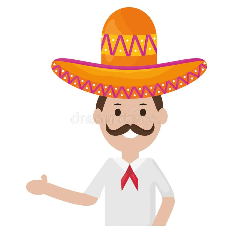 Mexican man with mariachi hat. Vector illustration design stock illustration