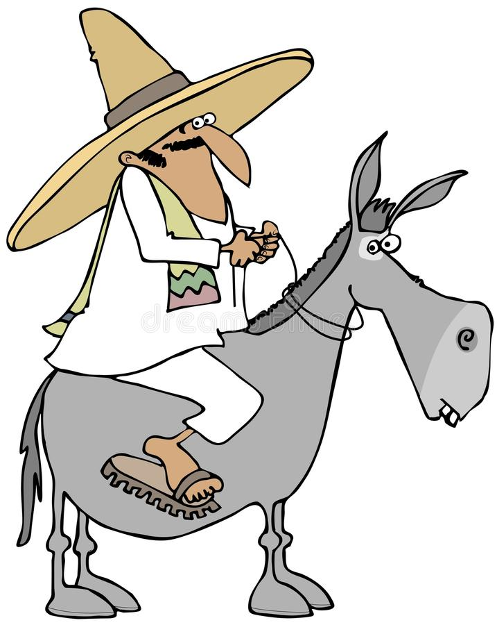 Download Mexican Man Riding A Donkey Stock Illustration - Illustration of cartoon, equine: 36666833