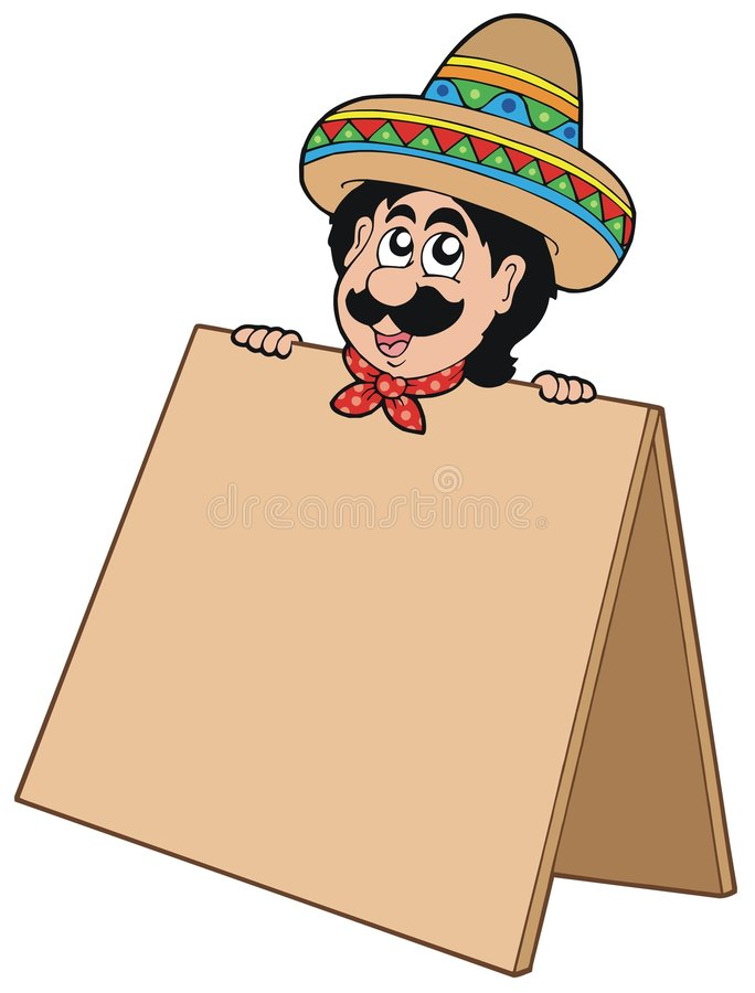 Mexican man with table stock illustration