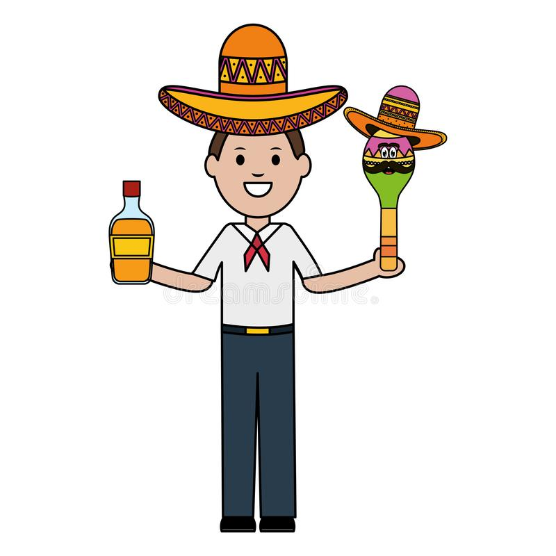 Mexican man with tequila and maraca character stock illustration