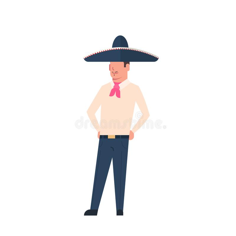 Mexican Man In Traditional Costume And Sombrero Hat Isolated On White Background. Flat Vector Illustration vector illustration