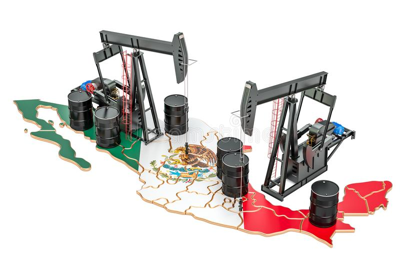 Mexican map with oil barrels and pumpjacks. Oil production concept. 3D rendering. Mexican map with oil barrels and pumpjacks. Oil production concept. 3D stock illustration