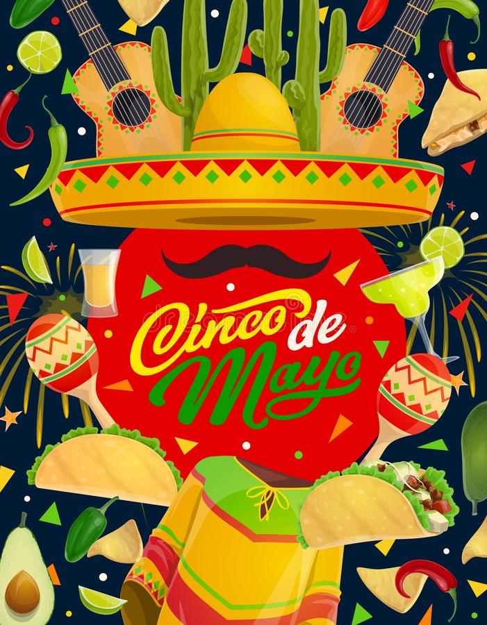 Mexican maracas, guitar, sombrero. Cinco de Mayo. Cinco de Mayo Mexican sombrero, guitar and maracas with moustaches vector greeting card. Fiesta party mariachi stock illustration