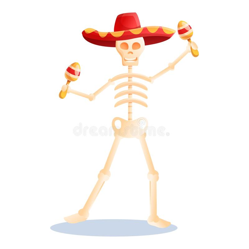 Free Mexican Maracas Skeleton Icon, Cartoon Style Stock Photography - 173400672