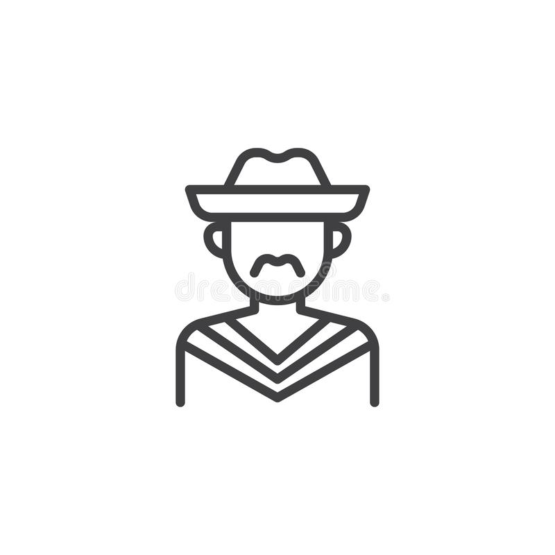Mexican mariachi avatar line icon. Linear style sign for mobile concept and web design. Man with hat outline vector icon. Faceless people avatar symbol logo stock illustration