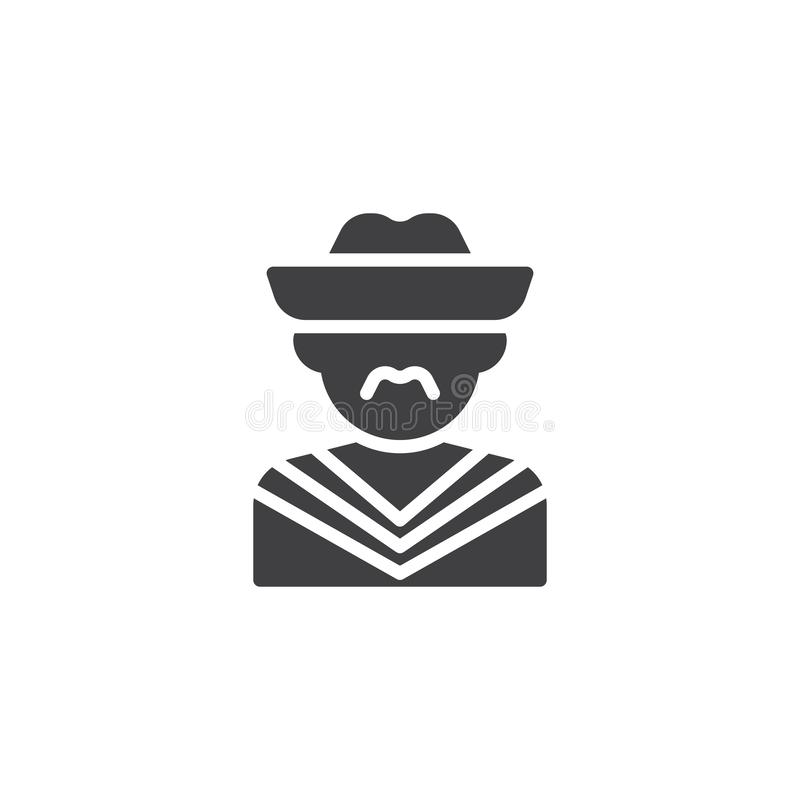 Mexican mariachi avatar vector icon. Filled flat sign for mobile concept and web design. Man with hat glyph icon. Faceless people avatar symbol, logo vector illustration