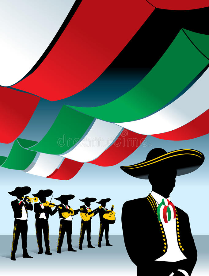 Mexican Mariachi band. Silhouettes of six mariachi musicians plucking their instruments with mexican flags over them stock illustration