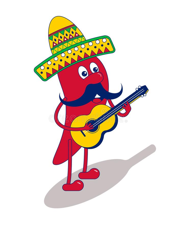 Mexican mariachi chilli pepper with yellow guitar. Red chilli pepper in a sombrero. Cartoon chili symbol of mexican food stock illustration