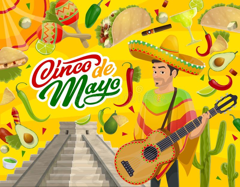 Mexican mariachi, guitar, sombrero and food. Cinco de Mayo Mexican holiday mariachi with sombrero, guitar and maracas vector design. Fiesta party tequila royalty free illustration