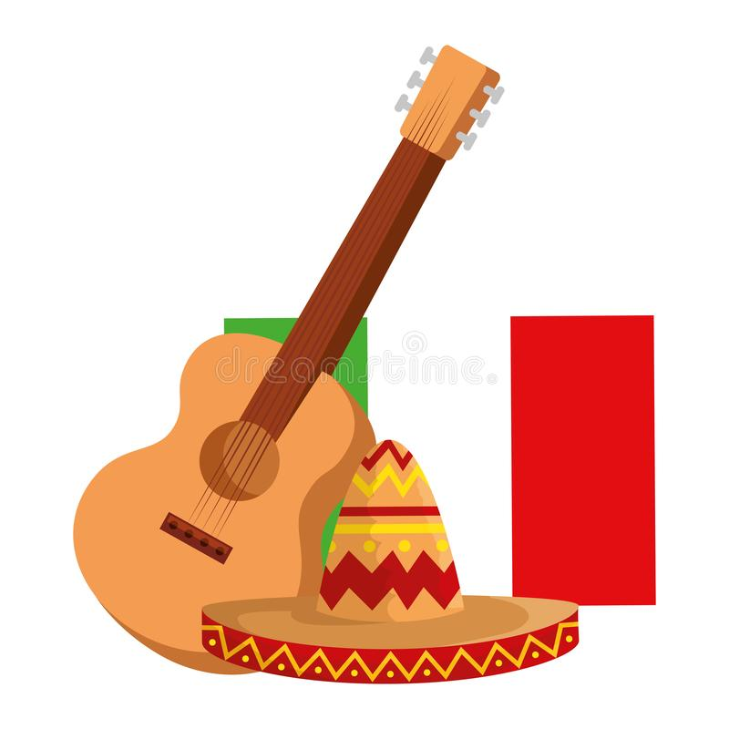 Mexican mariachi hat with guitar and flag. Vector illustration design vector illustration