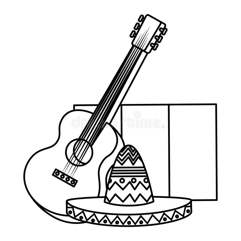 Mexican mariachi hat with guitar and flag. Vector illustration design stock illustration