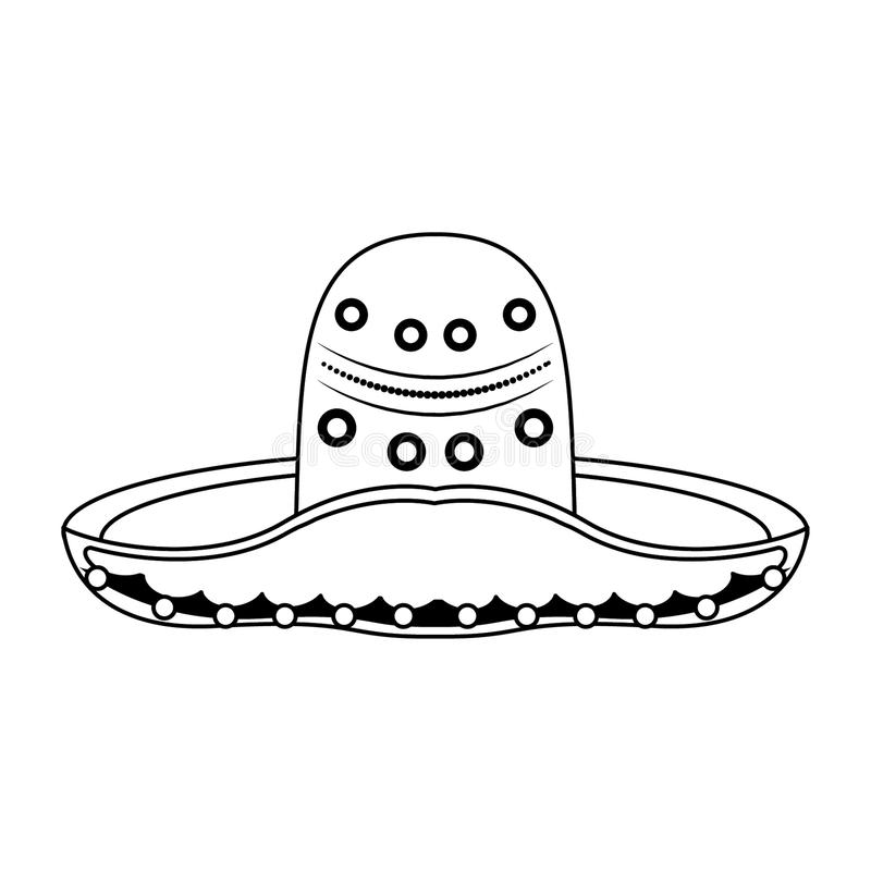 Mexican mariachi hat icon isolated in black and white vector illustration