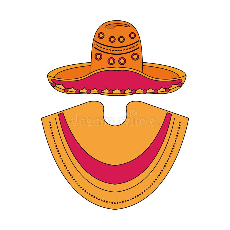 Mexican mariachi hat and poncho cartoon. Vector illustration graphic design stock illustration