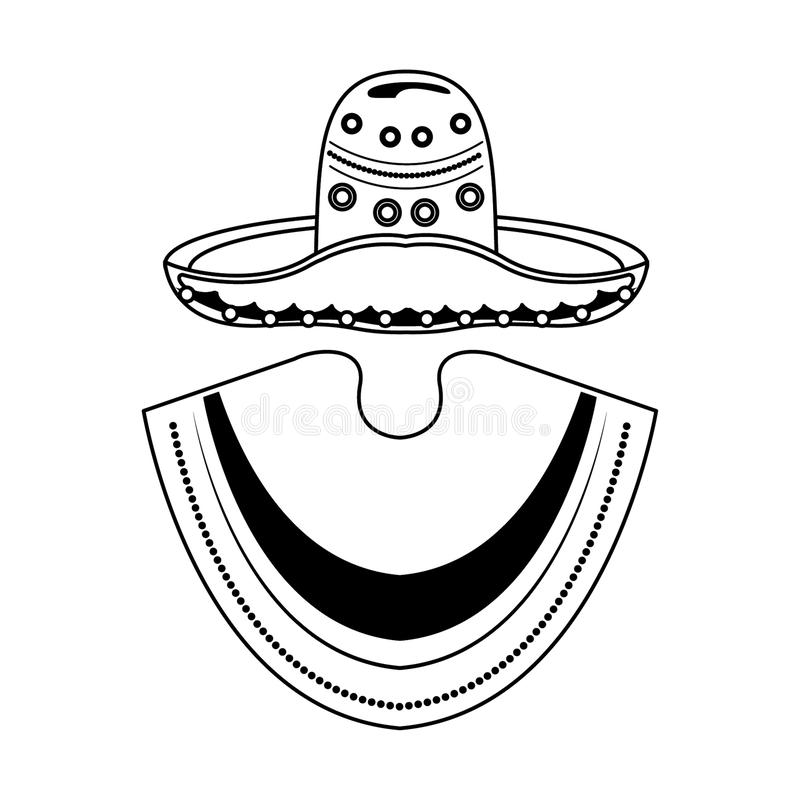 Mexican mariachi hat and poncho cartoon in black and white. Mexican mariachi hat and poncho cartoon vector illustration graphic design stock illustration