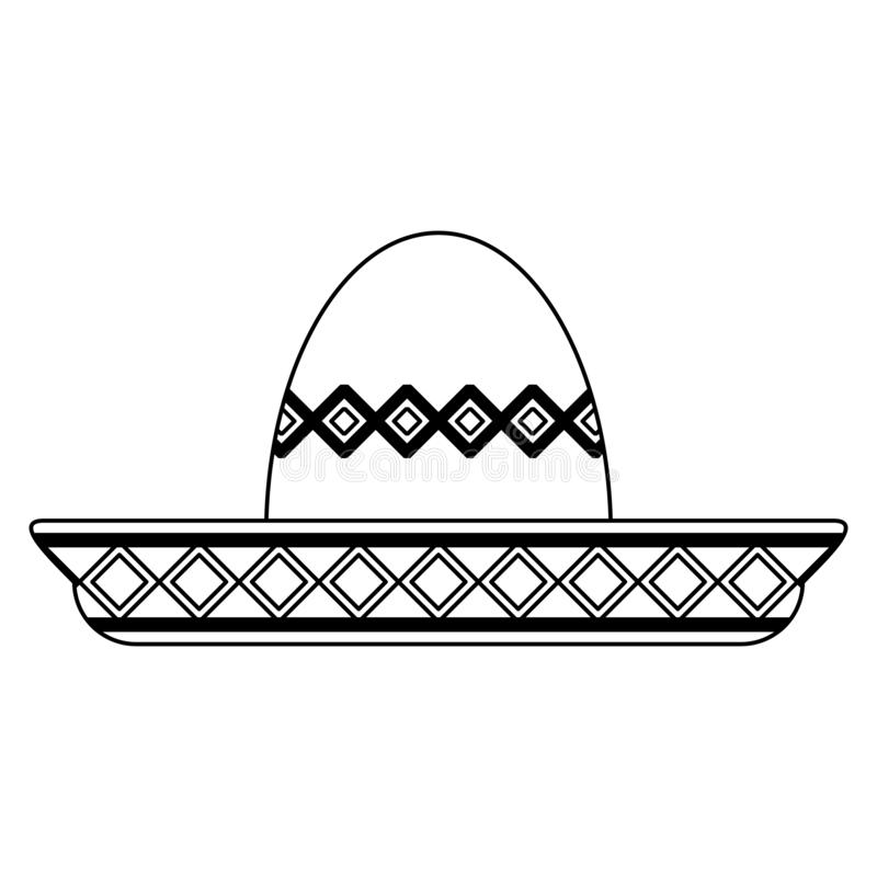Mexican mariachi hat symbol black and white. Mexican mariachi hat symbol vector illustration graphic design vector illustration