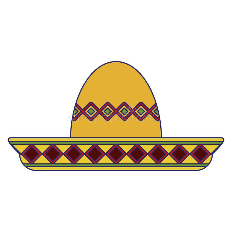Mexican mariachi hat symbol blue lines. Mexican mariachi hat symbol vector illustration graphic design stock illustration